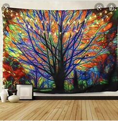 BLEUM CADE Colorful Tree Tapestry Wall Hanging 51x59 $9.89