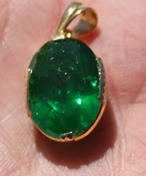 GIA Certified Tsavorite Garnet 14.56ct Solid 18K Yellow Gold PendantBrand New