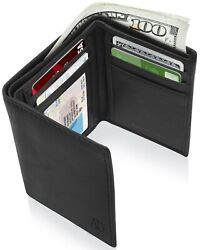 Real Leather Slim Wallets For Men Trifold Mens Wallet W ID Window RFID Blocking $9.99