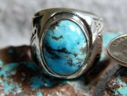 Mens Sterling Silver Kingman Turquoise Ring Navajo Lorenzo James Size 9 12