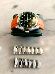 Rolex Milgauss 116400 Oyster Perpetual Green Crystal Watch inc New Everest Strap