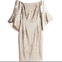 Antonio Melani Silver Gold Sequin Dress Party Cocktail Size 2 Small XS New $60.00