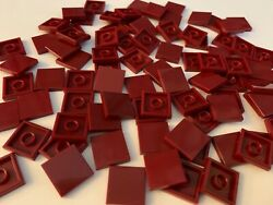LOT 100 BRAND NEW LEGO RED MAROON FLAT SMOOTH SQUARE TILES TILE 2x2 2 1x2 3068 $8.99