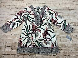 JM Collection Womens Top 2x Floral Embellished Pullover Tunic V Neck Plus Size $17.95