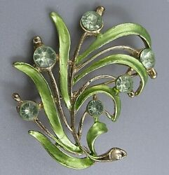 Vintage Jewelry Lime Green Flower BROOCH PIN Rhinestone Lot G