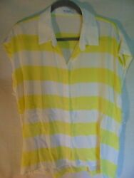 NWT Equipment Femme yellowwhite stripe Silk Shirt Blouse Sz L w flaws MSRP$218