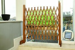 Expanding Portable Wooden Fence Screen Gate Kid Safety Dog Pet Garden Extendable