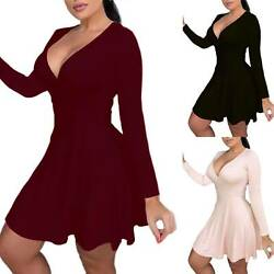 Plus Size Womens Deep V-Neck Swing Skater Dress Evening Party Short Mini Dress