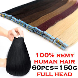 Remy Invisible Tape In Human Hair Extensions Full Head 20406080Pcs THICK 881A