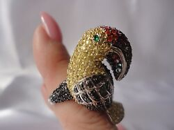 Toucan Pave Cubic Zirconia Sterling Silver Cocktail Ring Statement Ring Size 6