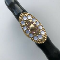 Vintage Pink Diamante & Faux Moonstone Gold Tone Large Ring Size O UK 1960s