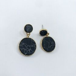 Gold Finish Black Stone Double Circle Round Shape Mini Drop Dangle Post Earrings $7.49