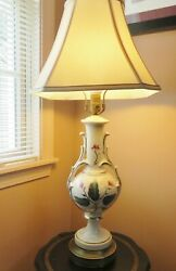 Antique Victorian Urn Style Porcelain Lamp Ivory Floral Design Gold Accents $45.00