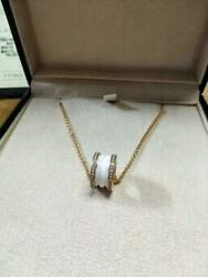 AUTH BVLGARI Bzeroone Necklace With Diamond Pink Gold Free Shipping