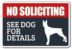 NO SOLICITING SEE DOG FOR DETAILS Decal dog animal warning $11.98