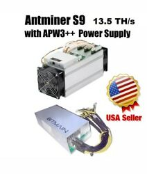 BITMAIN AntMiner S9 13.5THs With Power  Supply Lightly Used. Great Condition