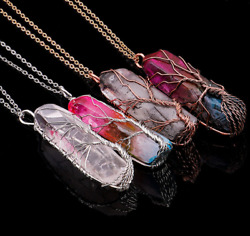 Chic Clear Rainbow Crystal Tree of Life Chakra Pendant Bronze Wire Wrap Necklace C $3.89