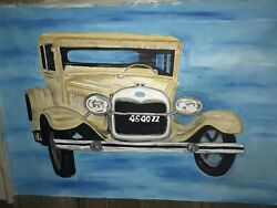 Man CaveShe Shed Painting. Classic Car Wall Art Portraiton Canvas In Acrylic