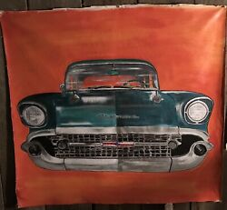MAN CAVESHE SHED PAINTING CLASSIC CAR WALL ART PORTRAIT ON CANVAS IN ACRYLIC