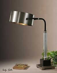 NEW ADJUSTABLE BRUSHED ALUMINUM TABLE LAMPS BRONZE GLASS ACCENTS DESK LIGHTS $261.80