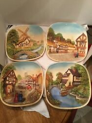 Set of 4 Legend Product Painted Chalkware 3D English Home Plates made in England $63.99