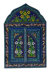 Moroccan Wall Mirror w Doors Hand Painted Arabesque Handmade Home Decor Blue $34.99