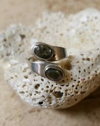 Vintage TAXCO Sterl. Silver Abalone Stones Wrap Ring - Marked Eagle 3 JAB  Sz.8