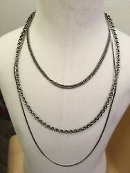 Vintage Costume Jewelry LOT 3 Necklace Chains silver tone