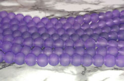 8MM Dark Purple Frosted Glass Beads Round Spacer Loose Beads About 105pc NEW