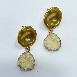 Gold Finished White Color Druzy Circle Shape Mini Drop Dangle Post Earrings $7.49