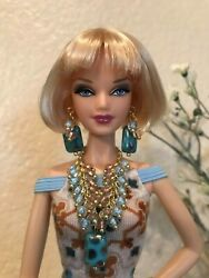 Handmade Jewelry for Barbie Blue and Gold Necklace and Earrings