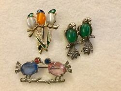 Vintage lot of 3 LOVEBIRDS pins - sterling pot metal and moonglow glass