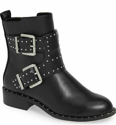 Charles by Charles David Tupper Black Pull Tab Strappy Buckle Studs Moto Boot