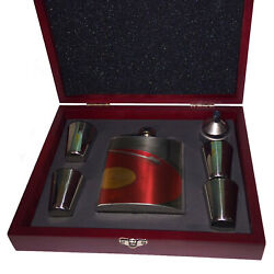 DJ Red Vinyl Record - Liquor Hip Flask in Red Wood Gift Box with shot glasses