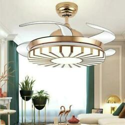 42quot; Gold Invisible Ceiling Fan Lamp Modern Remote Control Chandelier LED Light $149.14