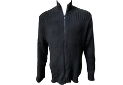 Calvin Klein Cable Knit Ribbed Full Zip Sweater Black Large