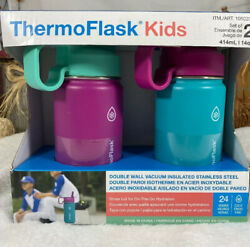 ThermoFlask Kids Vacuum Insulated 14oz Water Bottle 2-Pack (pinkteal) NEW!