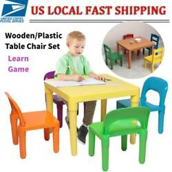 New Kids Table and Chair Set 5-Piece WoodPlastic Activity Table