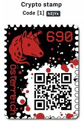 2019 Austria Crypto Stamp - RED - 5 Digit Code - Extremely Rare- 1213 Must Have