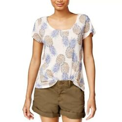 NEW $40 Lucky Brand Womens Pineapple T-Shirt Top Sz M Scoop Neck Pink Linen E22