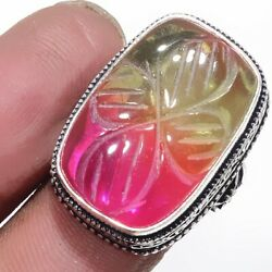 Carved-Bi-Color Tourmaline 925 Sterling Silver Jewelry Ring Size-8.75 8945