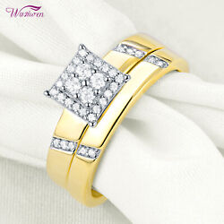 Yellow Gold Plated White Cz 925 Sterling Silver Wedding Engagement Ring Set Sz 7