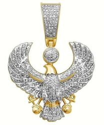 5.75CT NATURAL DIAMOND 14K SOLID YELLOW GOLD EAGLE PENDANT FOR MEN