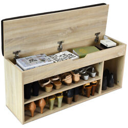 Shoes Display Bench Wooden Rack WStorage Shelf Upholstered Utility Home Use