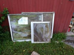 Antique Slag Glass Windows Green And Purple c1800 1900. 1 Large 1 small $300.00