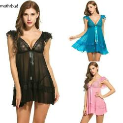 Women Sexy Lingerie Dress Babydoll Deep V-Neck Lace Patckwork Ruffle M5BD