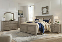 Cottage Light Gray Solid Wood 5 pieces Bedroom Set w King Size Panel Bed IA0Q