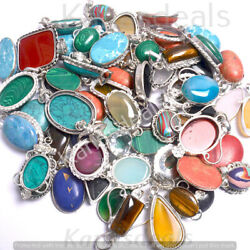 Turquoise & Mixed Gemstone Wholesale Lot 925 Sterling Silver Plated Pendant $8.09