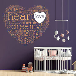 Dreamy Heart Wall Decal Quote with Love Heart customized small heart color L287