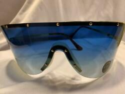 5520 Sharp NEW Gold Blue Oversized Shield Lens Sport Warp Sunglasses
